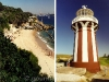 (L) Lady Bay Nudist Beach and (R) Hornby Lighthouse