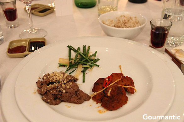 Nurbiani (Beef w Pine Nuts & Garlic Chives), Bul Dak (Fire Chicken)