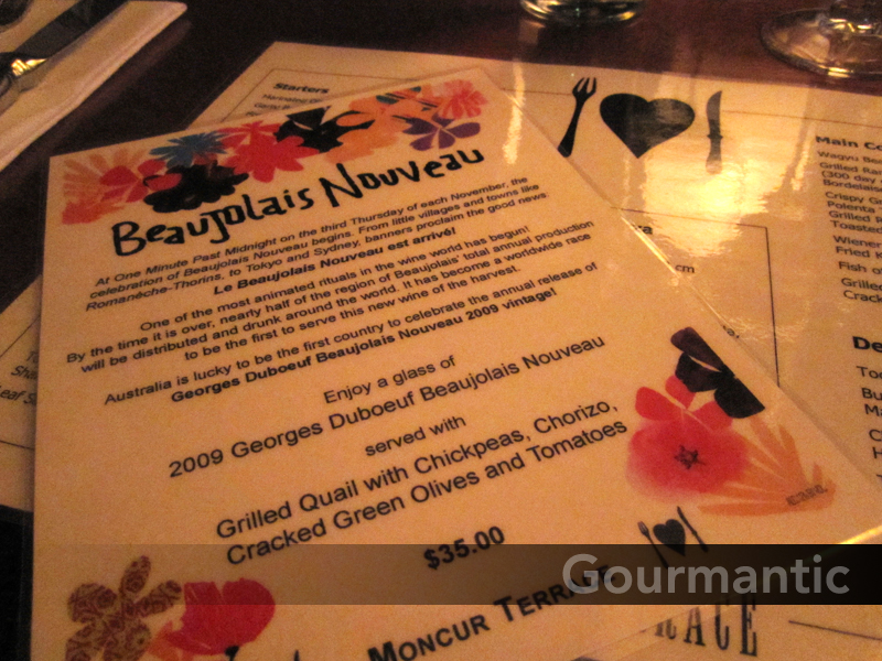 Moncur Terrace - Beaujolais Nouveau and menu