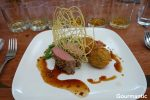 Dukkah Crusted Lamb Loin, Lamb Shank Croquette, Smoked Eggplant, Beans, Thyme Jus