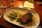 King Salmon Fillet with  broad beans, pea puree, dill and Rekorderlig Apple-Guava cider Beurre Blanc