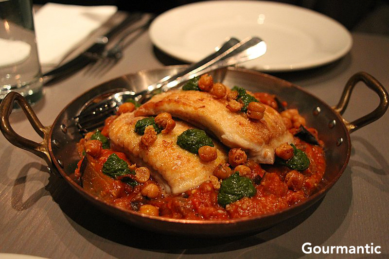 Skate Fillets with Tomato, Eggplant and Chickpea Confit