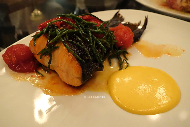 Salmon Tail cooked on the Bone, Samphire & Rouille