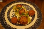 Scallops with Cauliflower Cream, Kedgeree Croquette, Grapes, Bombay Hazelnuts