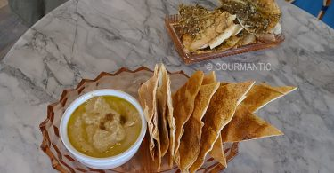 Pita Chips with Moorish Spice and Hummus & Crisp Lebanese Bread with Olive Oil and Za'atar